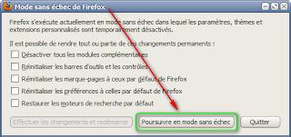 Démarrer Firefox en mode sans échec - panneau d'options
