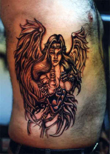 evil angel tattoos. angel of death tattoos. angel