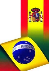 imagen ilustrativa de las banderas de Brasil y España unidas formando una sola bandera como referencia al texto que sigue adelante