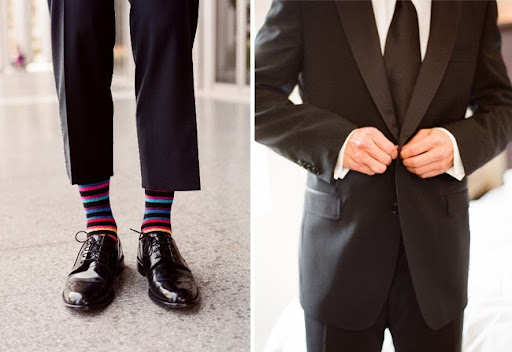 groom with striped socks