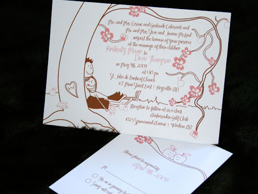 Teardrop wedding invitations
