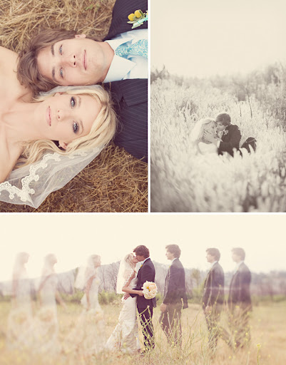 day after wedding session in a field