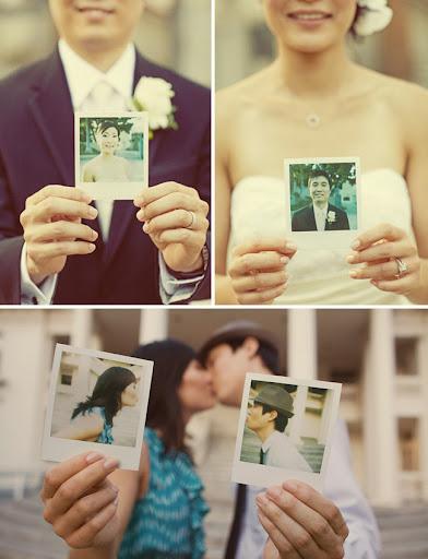 polaroid collage wedding photos