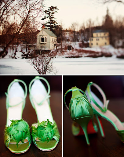 vermont winter wedding Christian Louboutin green wedding shoes