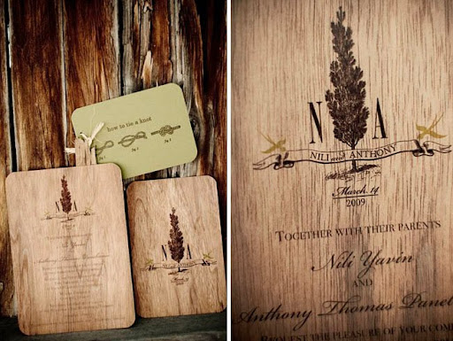 wedding invitation on wood