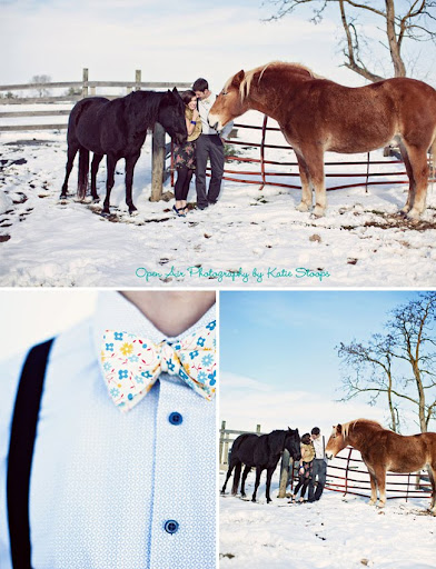 wedding bow tie horses snow