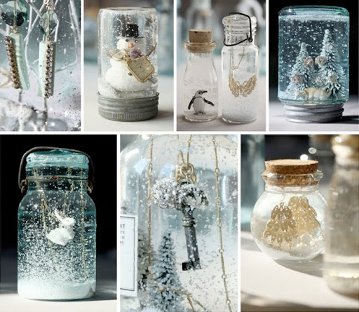 make your own snow globes wedding decor