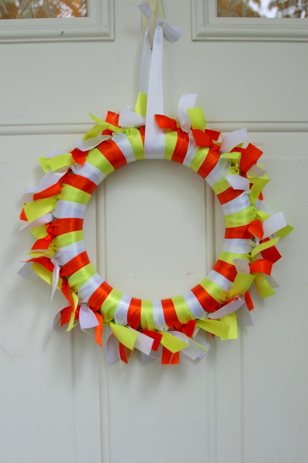 Made Pretty Candy Corn Colored Ribbon Wreath