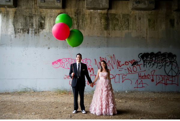 pink ruffled wedding dress via Ruffled blog