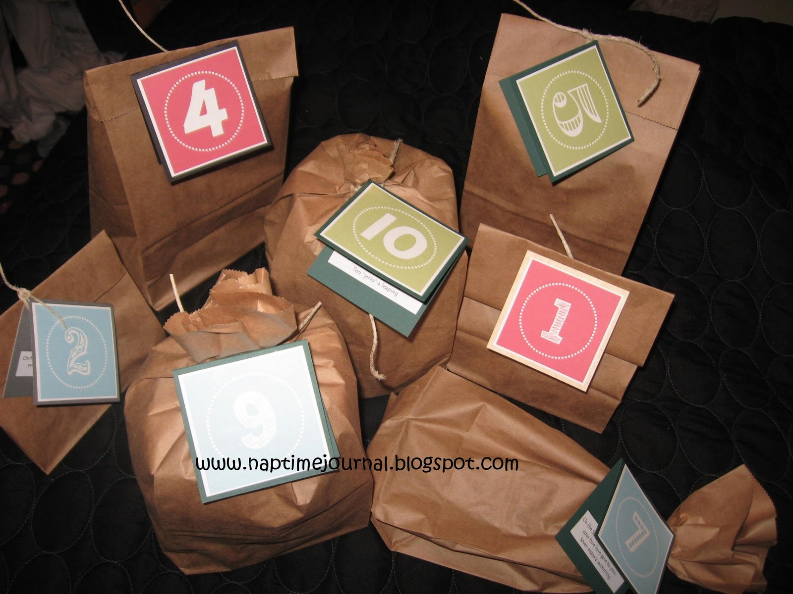 i went right along with the song i didnt make it to different i wrapped up the items as man ly as i could using brown paper bags and twine - 12 Days Of Christmas Gift Ideas For Him