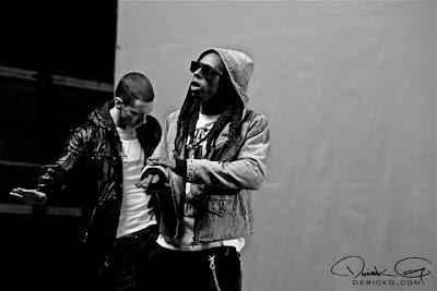Imagen de Lil Wayne y Eminem rodando el video de No Love