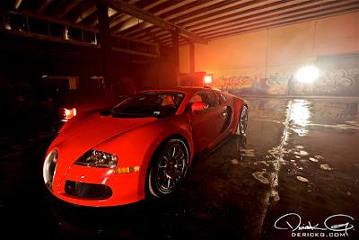 Imagen de el Bugatti Veyron en el rodaje del video de Fire Flame Remix del disco Like Father, Like Son II