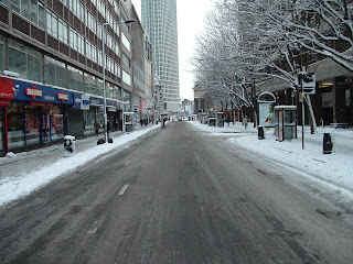Tottenham Court Road in the snow