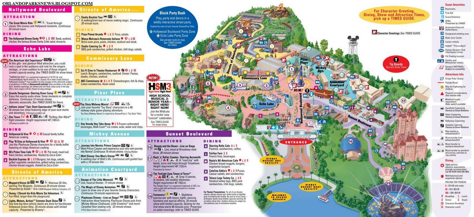 Disney\'s Hollywood Studios park map - Orlando Theme Park News