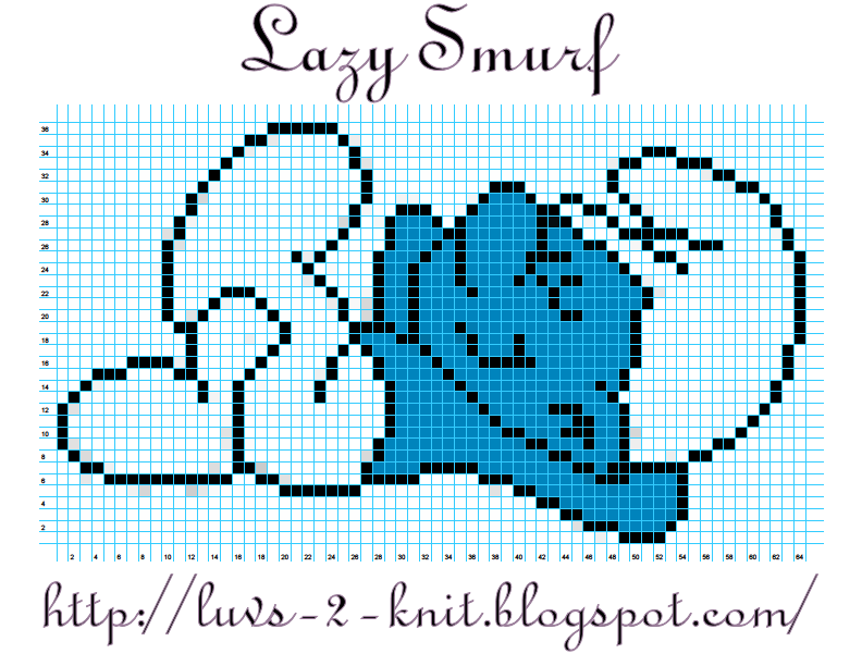 Free Knitting Graph Patterns : Cro Knit Inspired Creations By Luvs2knit: Lazy Smurf Crochet Chart Pattern By...