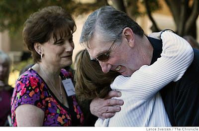 Susan Moody hugs Michael Lause