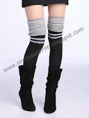 Women's two Colour with Grey Stripe Knit Thigh Knee High-