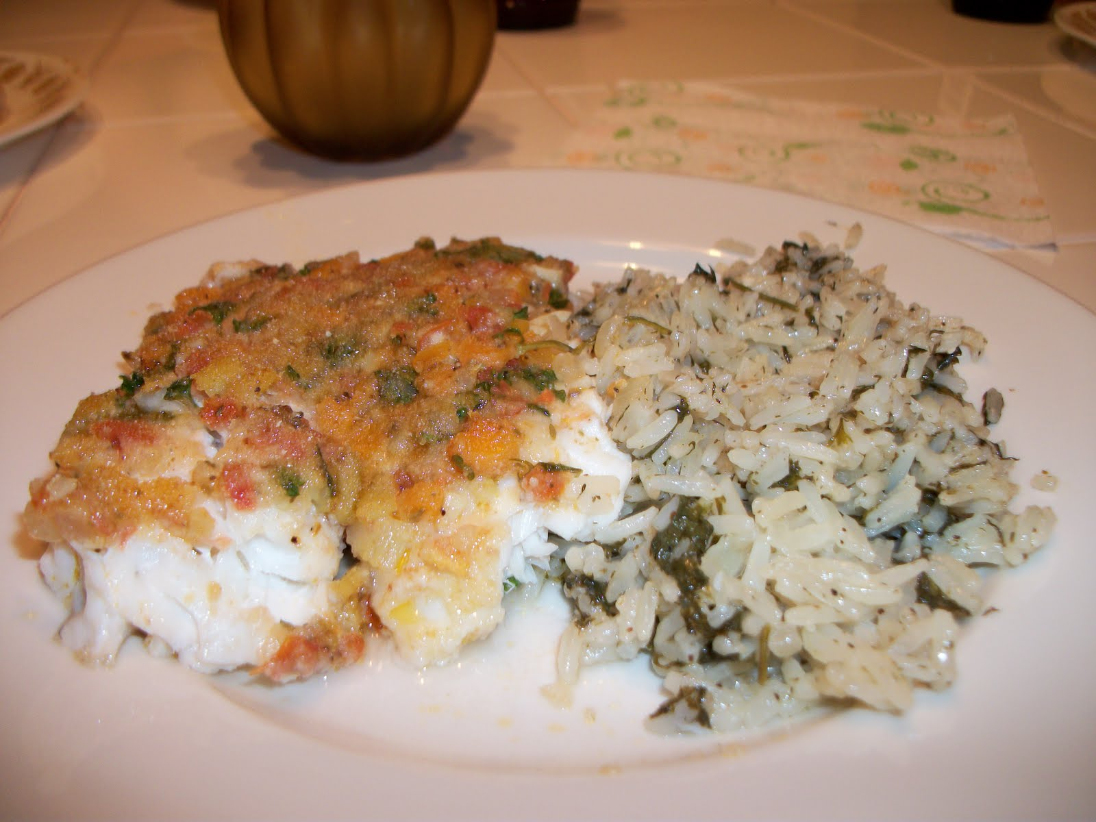What we made to eat psari plaki or awesome baked fish for Baked fish and rice