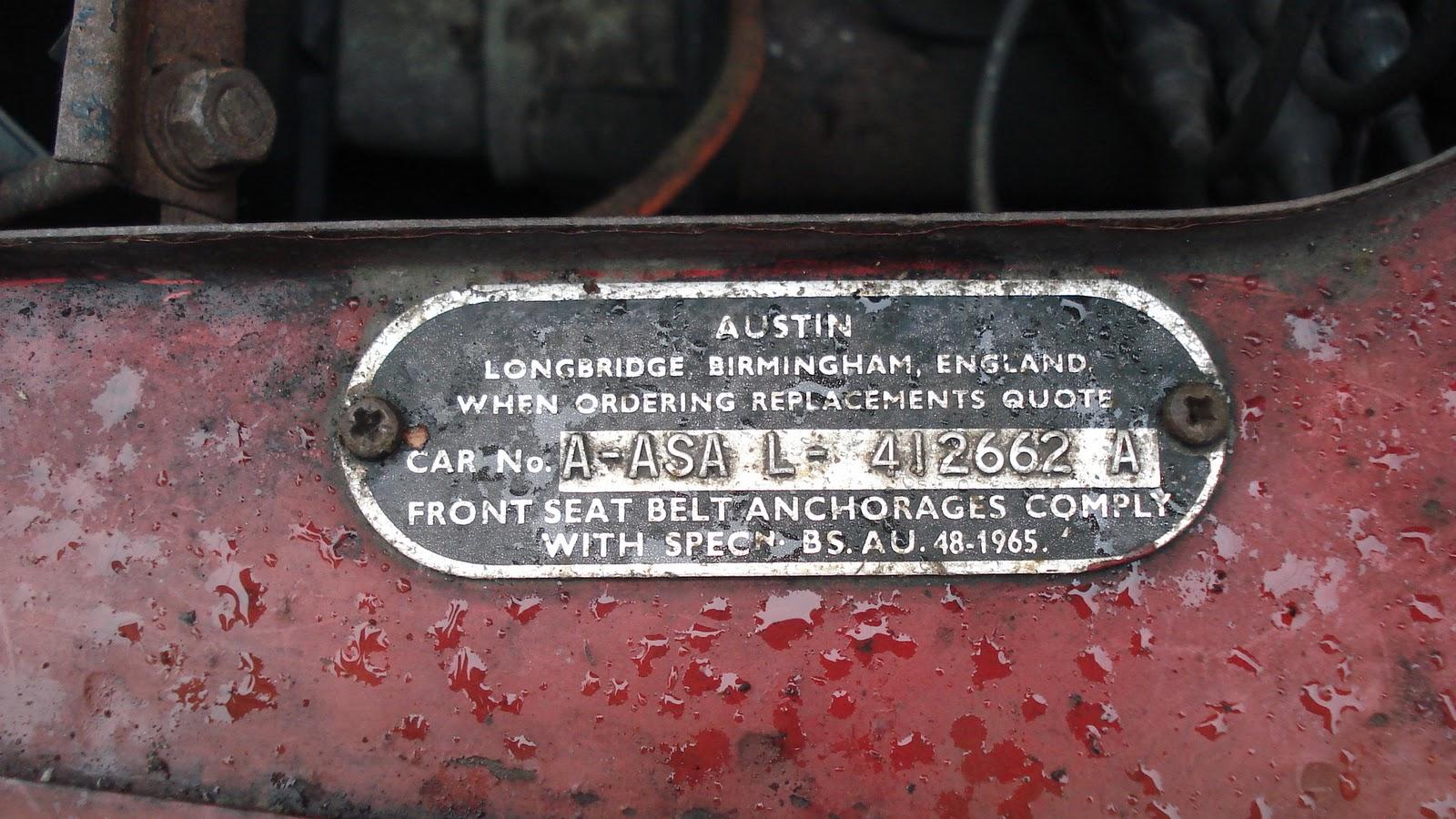 1968 Austin 1100 Mk II: Vin Number