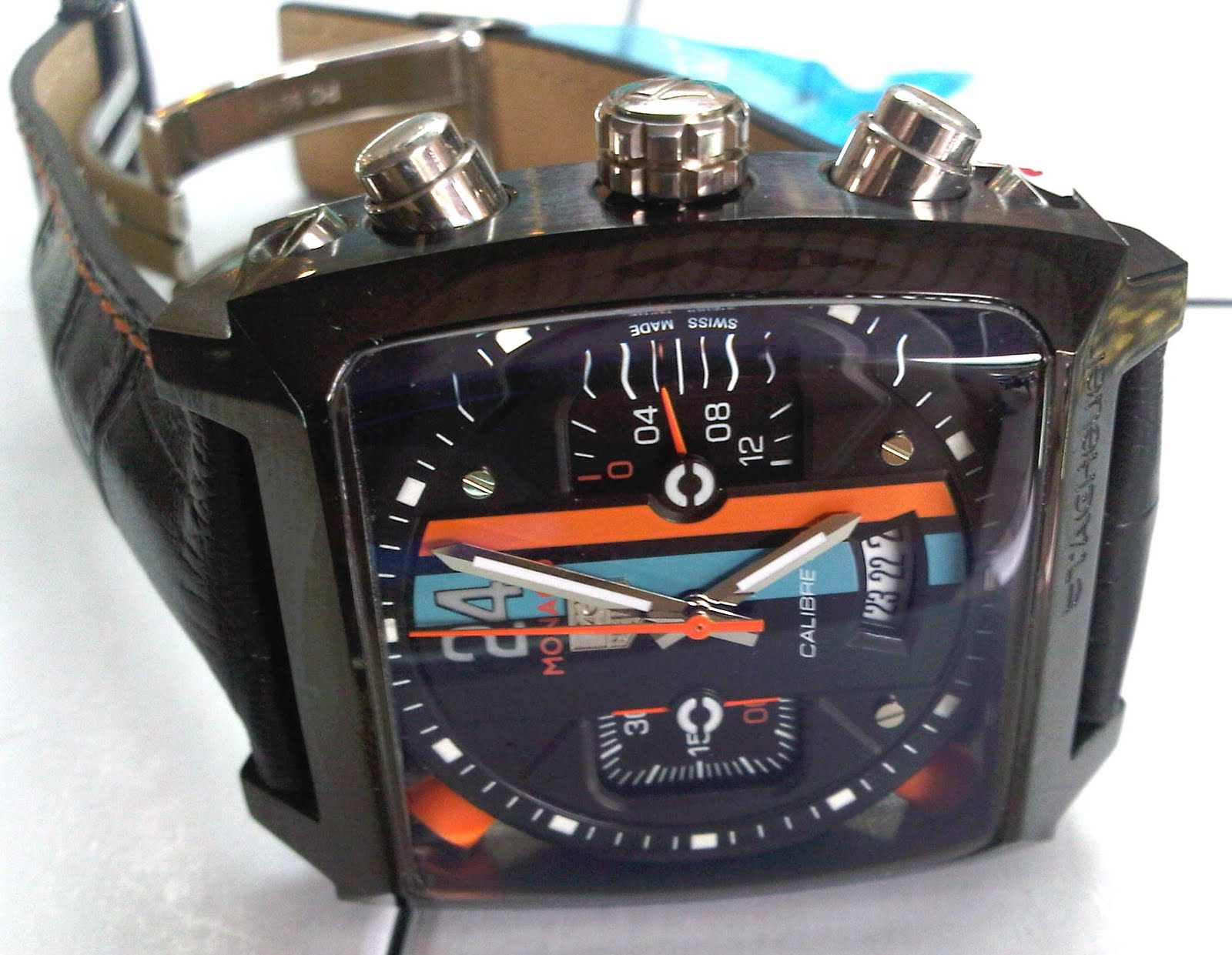 TAG HUEUR 24 MONACO LEATHER RP.650RB (GRADE AA ++. TAG Heuer Monaco full  black ...jam tangan ... 9073fd7eca