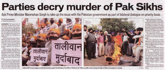 BJP leader Satyapal Jain and workers staging a protest demonstration against the beheading of two sikhs in Pakistan by the Taliban and SAD workers buring the effigy of Taliban in Chandigarh on Tuesday.