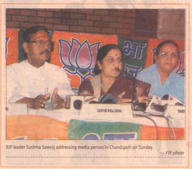 BJP leader Sushma Sawraj addressing media person in Chandigarh on Sunday