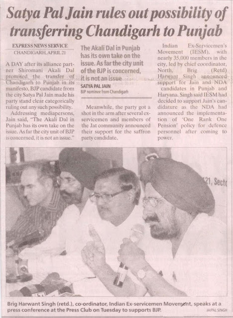Brig. Harwant Singh (retd.), co-ordinaator, Indian Ex-serviceman movement speaks at a press conference at the press club on Thesday to supports BJP candidate Satya Pal Jain