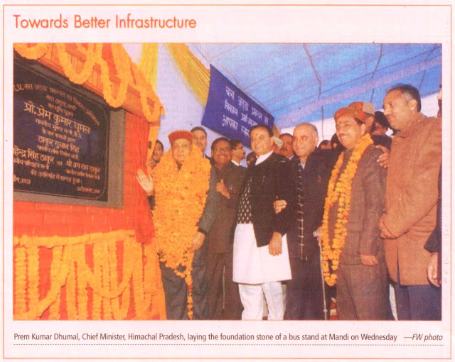 Prem Kumar Dhumal, Chief Minister, Himacahl Pradesh and Satyapal Jain, Prabhari, Himachal and other leader laying the foundation stone of a bus stand at Mandi on Wednesday.