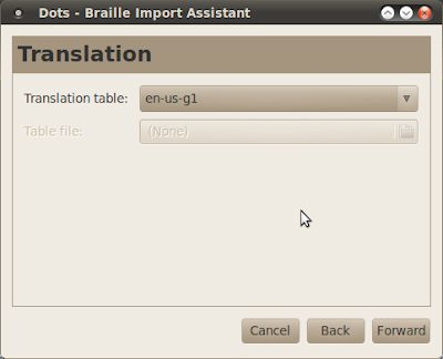 Dots braille typesetting program Translation dialog