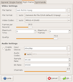 Xvidcap Mult-frame preferences dialog