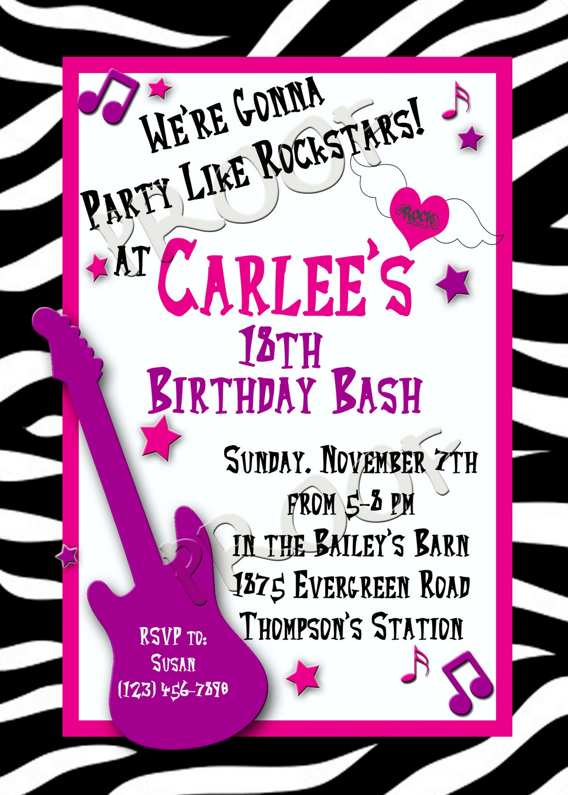 Fanci Cakes More Custom Invitations – Rock Star Party Invitations