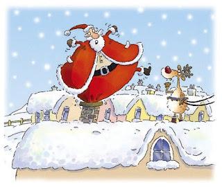 Santa Stuck In Chimney Wallpaper