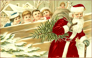 kids watching santa