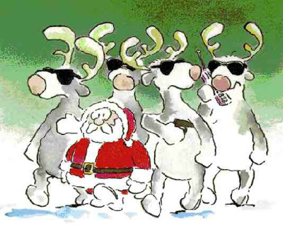 cartoon santa and reindeers