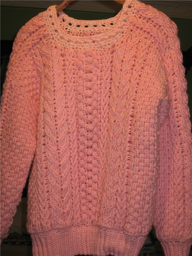 Crochet Knit Enthusiasts Aran Fishermans Sweater Crochet