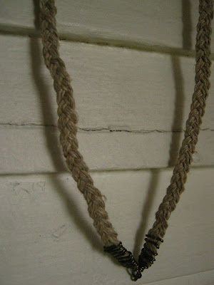 hemp braid and gun metal necklace
