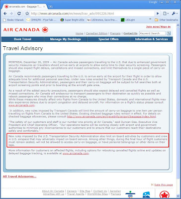 Screenshot of travel restrictions posted on Air Canada's Web site