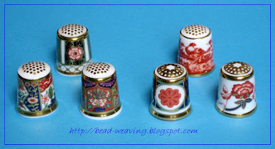 Fern, unknown, Tree Peony, Ambassador, Red Aves, Bali Royal Crown Derby Thimble