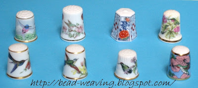 Haviland (Limoges) Hummingbird Thimble, Kudo Hummingbird Thimble, Yachiyo Kohshi Flower Thimble, Queensway Hummingbird Thimble, Kaiser Hummingbird Thimble, Davenport Hummingbird Thimble