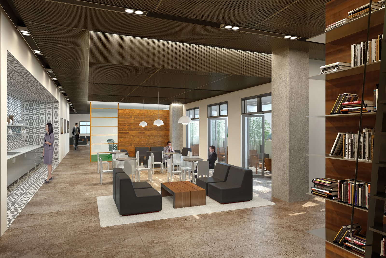 Shubin donaldson gk lounge renderings for Lounge interior ideas