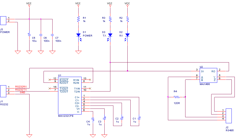 8051 AVR  PIC MICROCONTROLLER PROJECTS  RS232 to RS422 Converter    Circuit