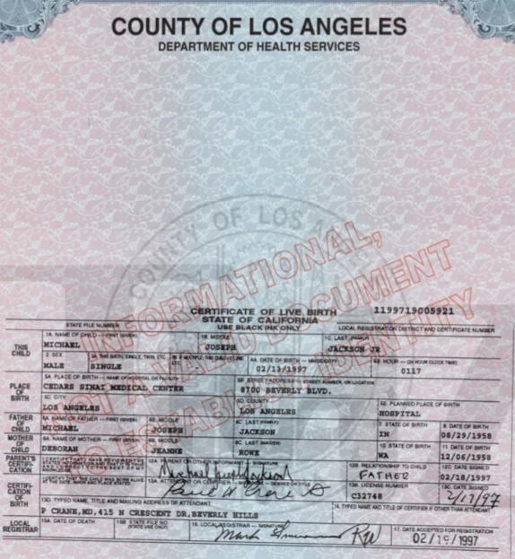 Blanket Jackson Forever: Los certificados de Nacimiento de Prince ...