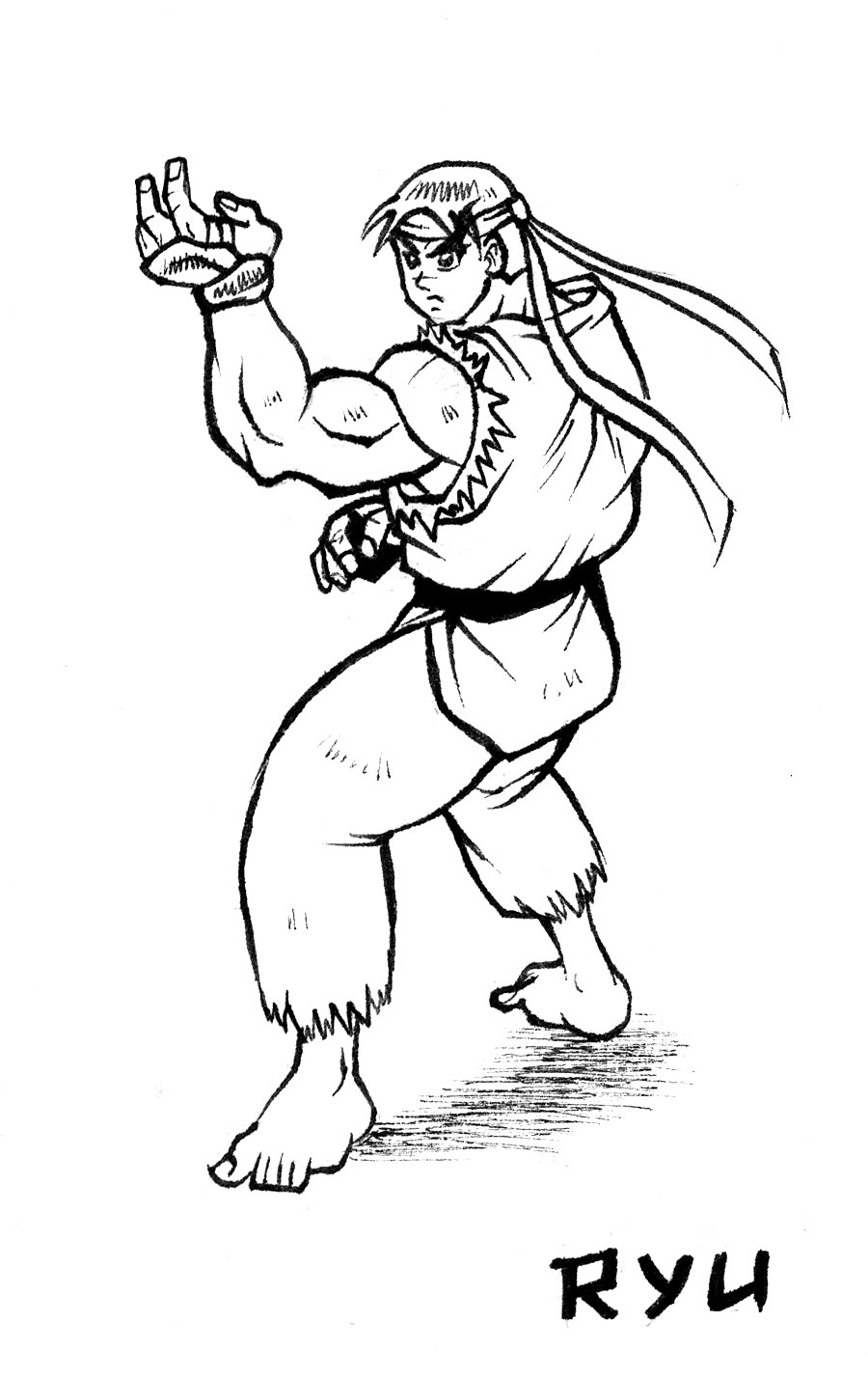 Free coloring pages of ryu street fighter for Ryu coloring pages