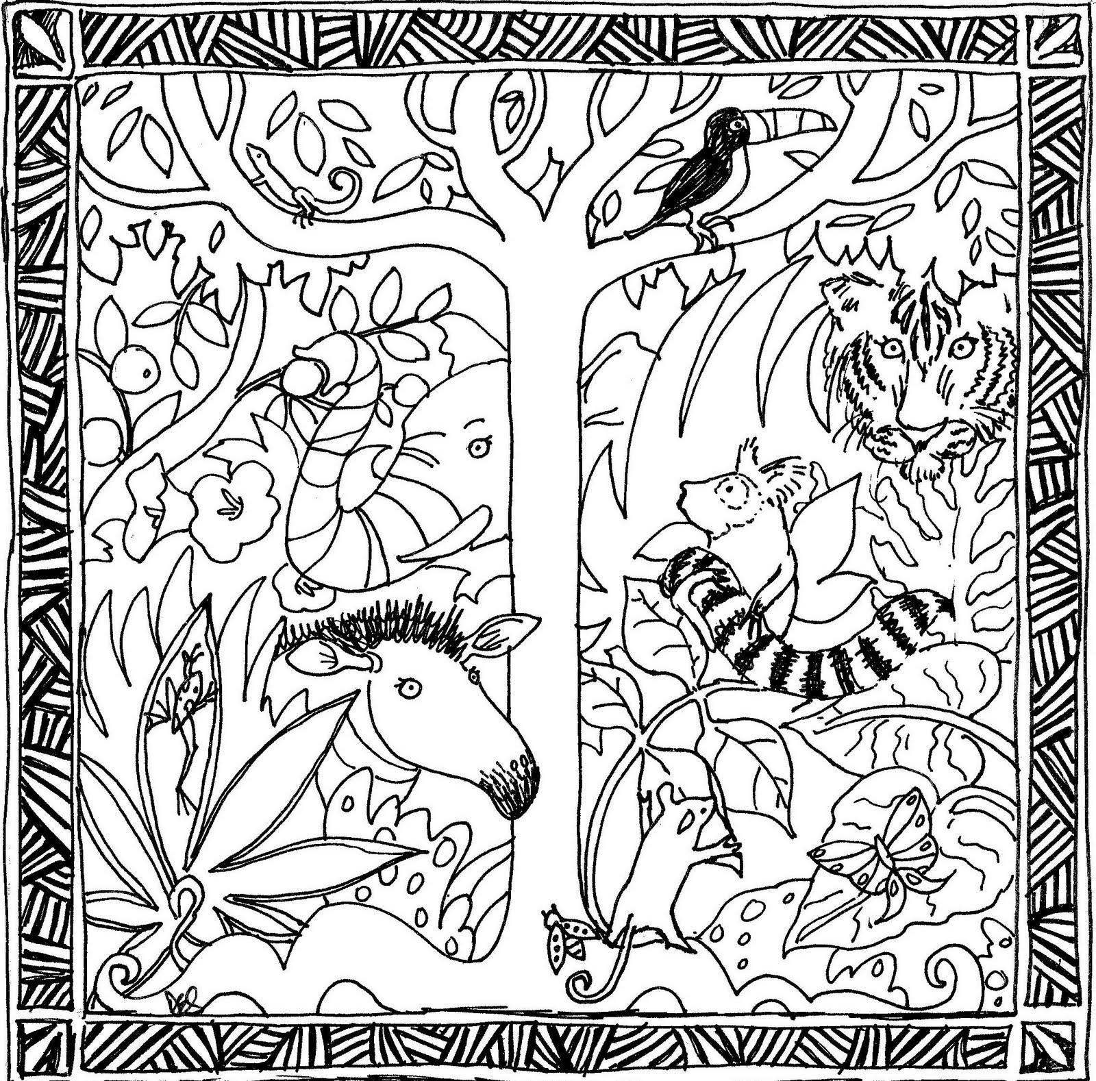 Free Coloring Pages Of Rain Forest Tree