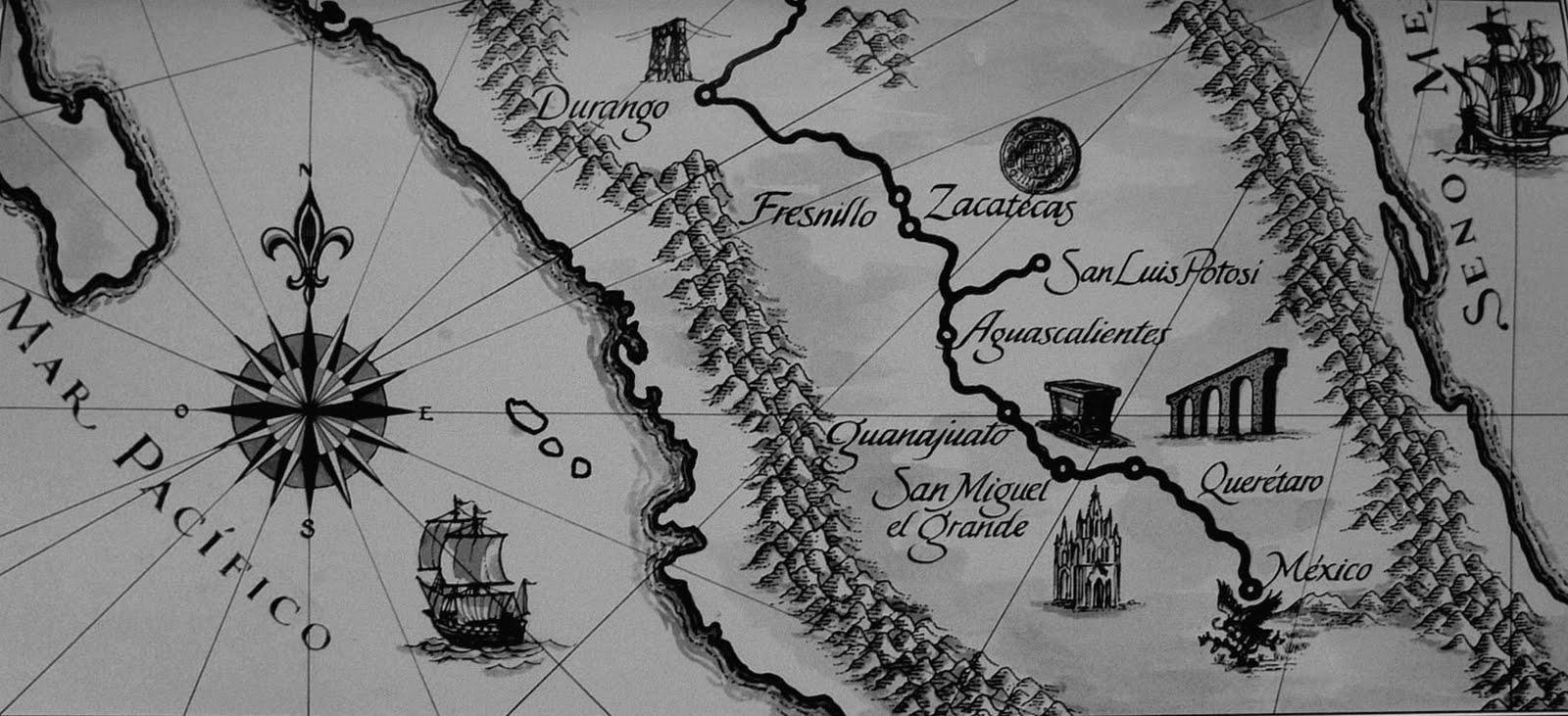 mapa antiguo del Camino Real de Tierra Adentro