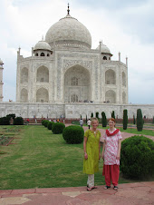 Laura and I In The Heat At The Taj Mahal - Agra, India