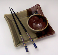 Sushi plate &amp; bowl, celadon and tenmoku glazes, Anne Webb