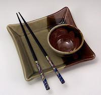 Sushi plate & bowl, celadon and tenmoku glazes, Anne Webb
