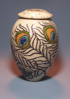 Peacock Feather Designed Raku Jar, Anne Webb