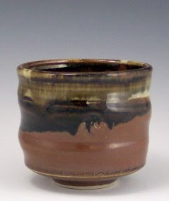 Celadon and Tenmoku Yunomi (teabowl)